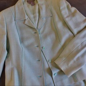 Jacket Skirt Suit Cotton Blend Aqua Turquoise